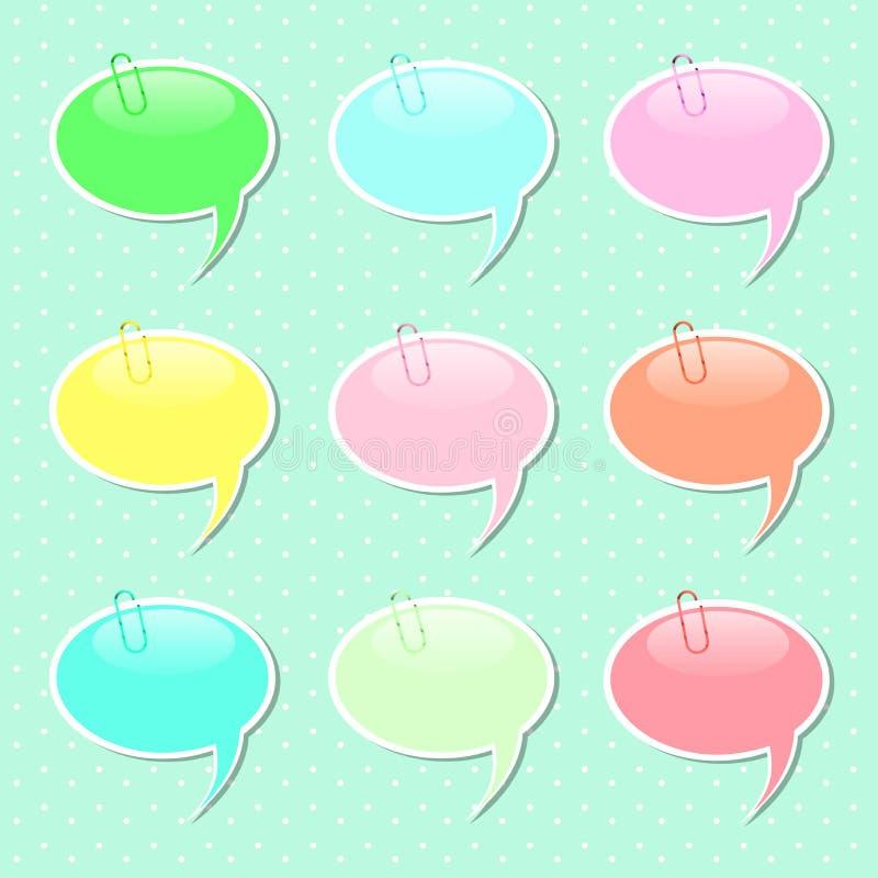 Formas de la etiqueta engomada de la burbuja del discurso en colores en colores pastel ilustración del vector