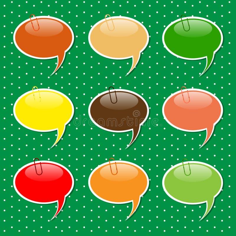 Formas de la etiqueta engomada de la burbuja del discurso en colores en colores pastel libre illustration