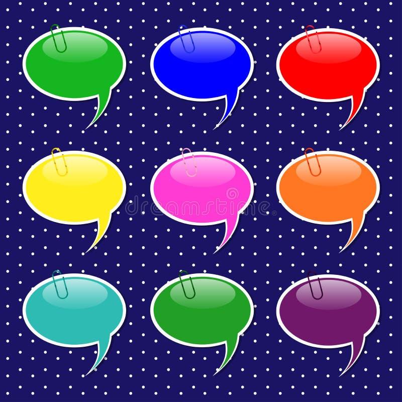 Formas de la etiqueta engomada de la burbuja del discurso en colores en colores pastel stock de ilustración