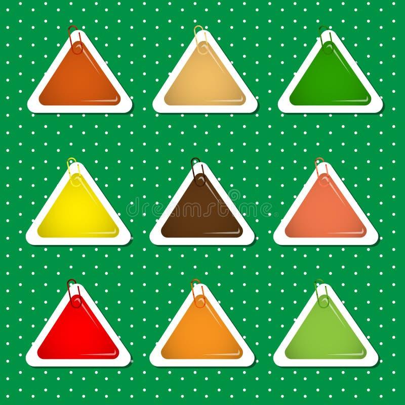 Formas de la etiqueta engomada del triángulo en Autumn Colors ilustración del vector
