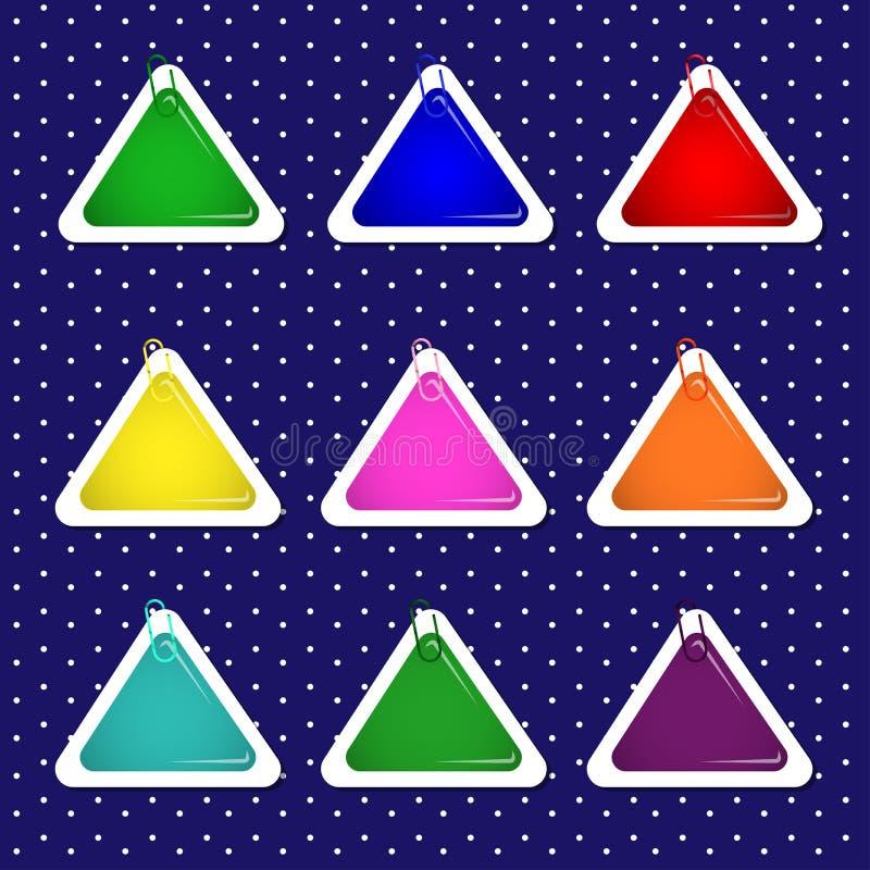 Formas de la etiqueta engomada del triángulo en colores brillantes stock de ilustración