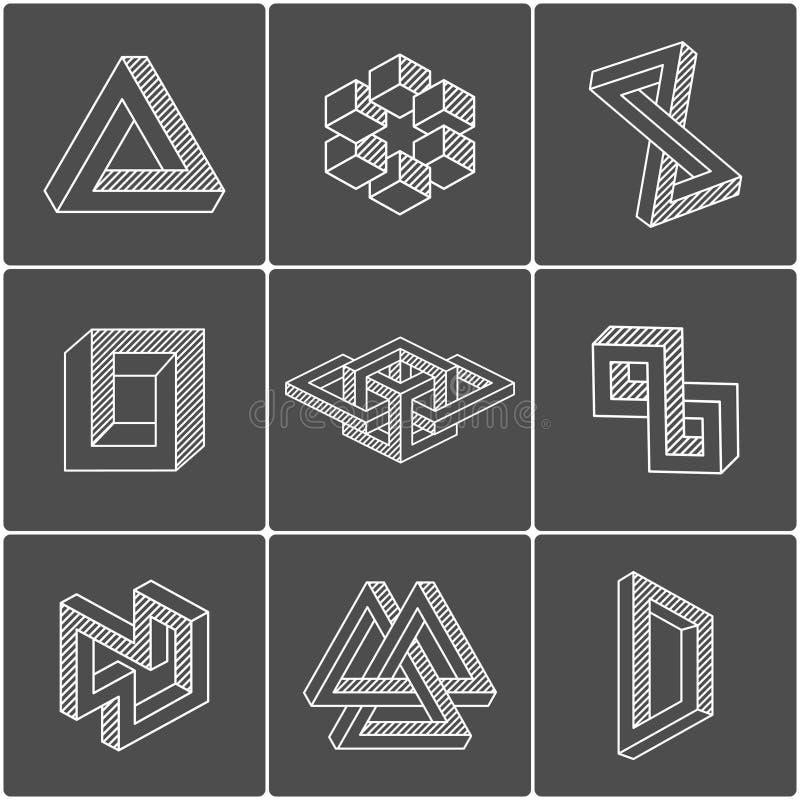 Formas de la ilusión óptica Elementos del vector stock de ilustración
