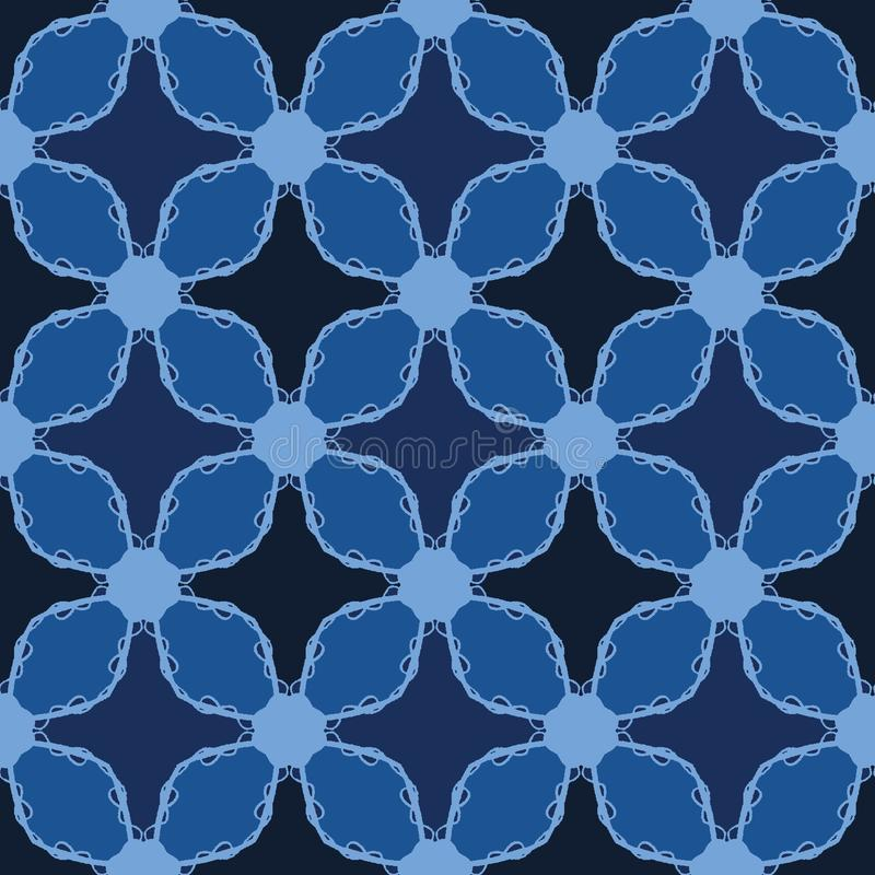 Formas de la teja de mosaico de los azules añiles Fondo incons?til del modelo del vector Ejemplo gráfico de la rejilla geométrica libre illustration