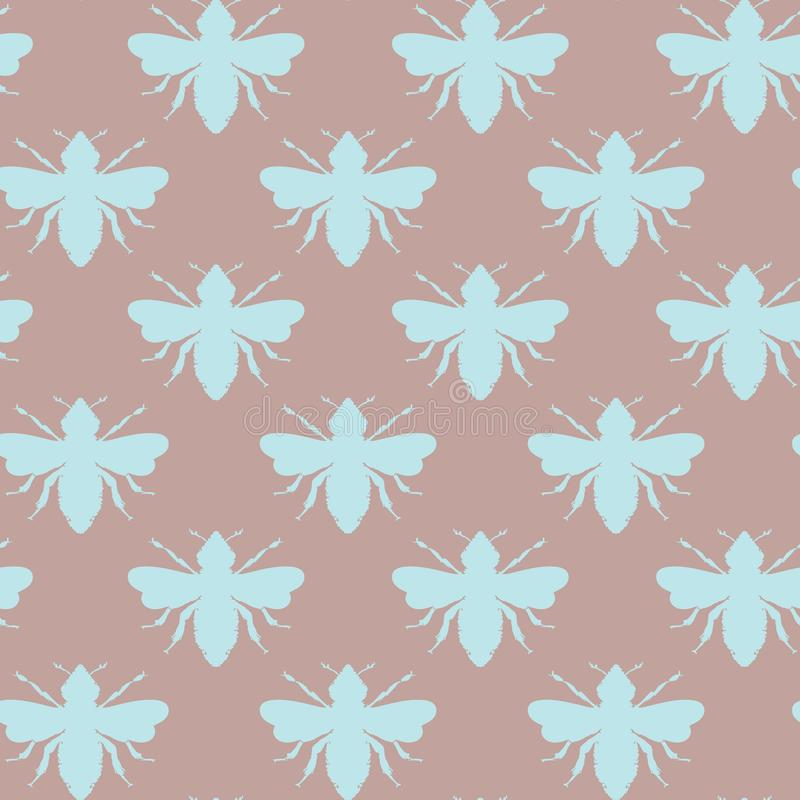 Formas de las abejas del vector en fondo inconsútil del modelo retro de los azules claros y del cacao libre illustration