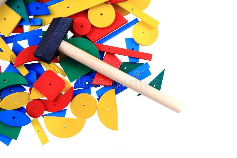 formas de madeira do brinquedo da cor foto de stock