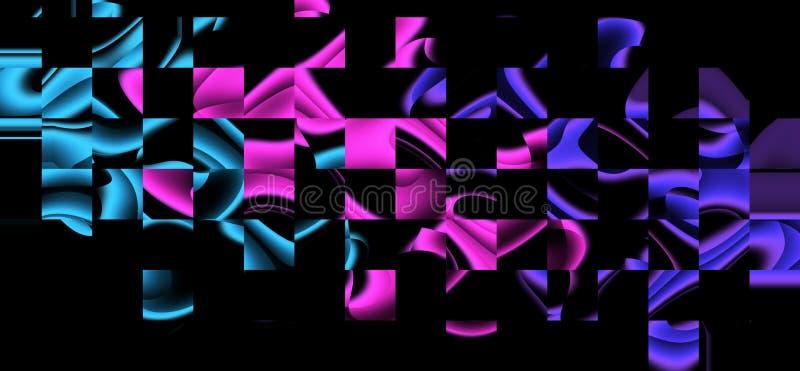 Formas de onda distorcidas de incandescência do sumário Objetos multicoloridos no fundo preto ilustração stock