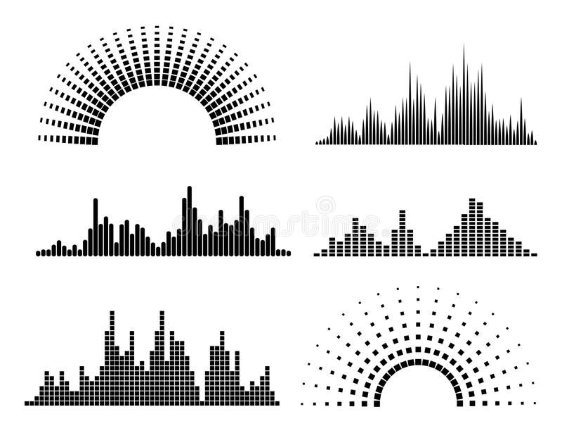 Formas de ondas negras de la música libre illustration