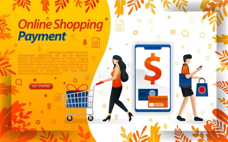 Formas de pago en línea para el comercio electrónico pagos que hacen compras en línea usando smartphones y tarjetas de crédito, i stock de ilustración