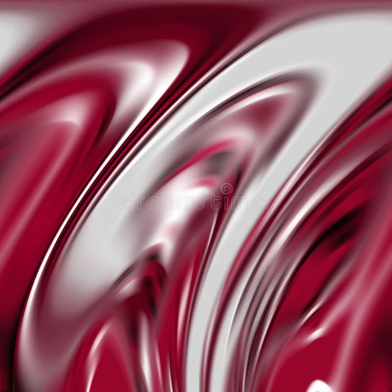 Formas de plata rojas blancas ahumadas flúidas, gráficos, fondo abstracto stock de ilustración