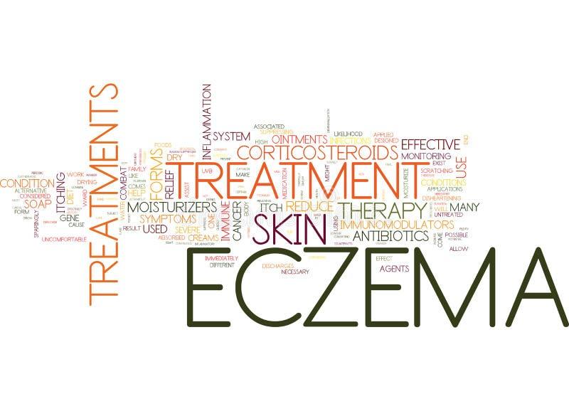 Formas de tratamiento para el concepto de la nube de la palabra del fondo del texto de las víctimas del eczema ilustración del vector
