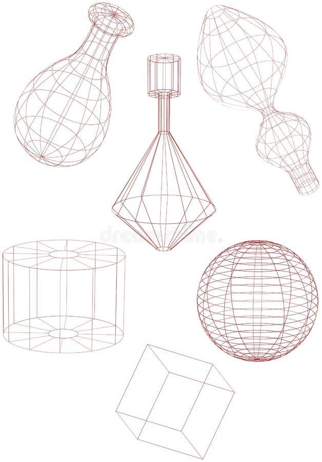 Formas de Wireframe ilustração stock