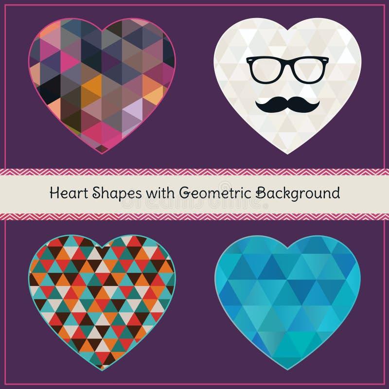 Formas del corazón con el fondo geométrico del Grunge stock de ilustración