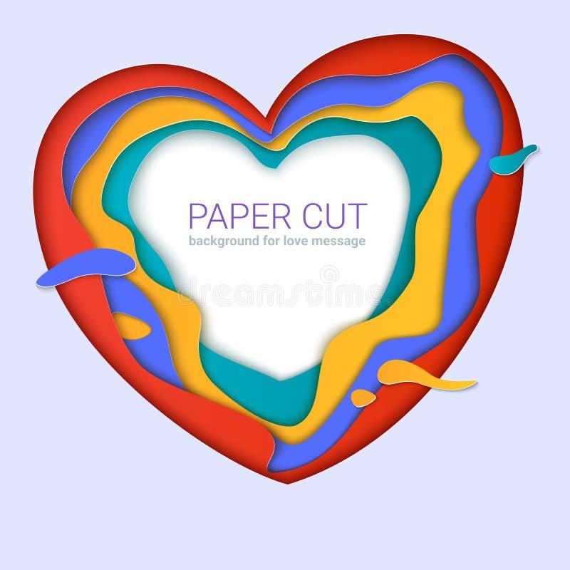 formas del corazón del Papel-corte con la sombra Capas multi realistas, talla del papel Plantilla de la impresión para las tarjet stock de ilustración