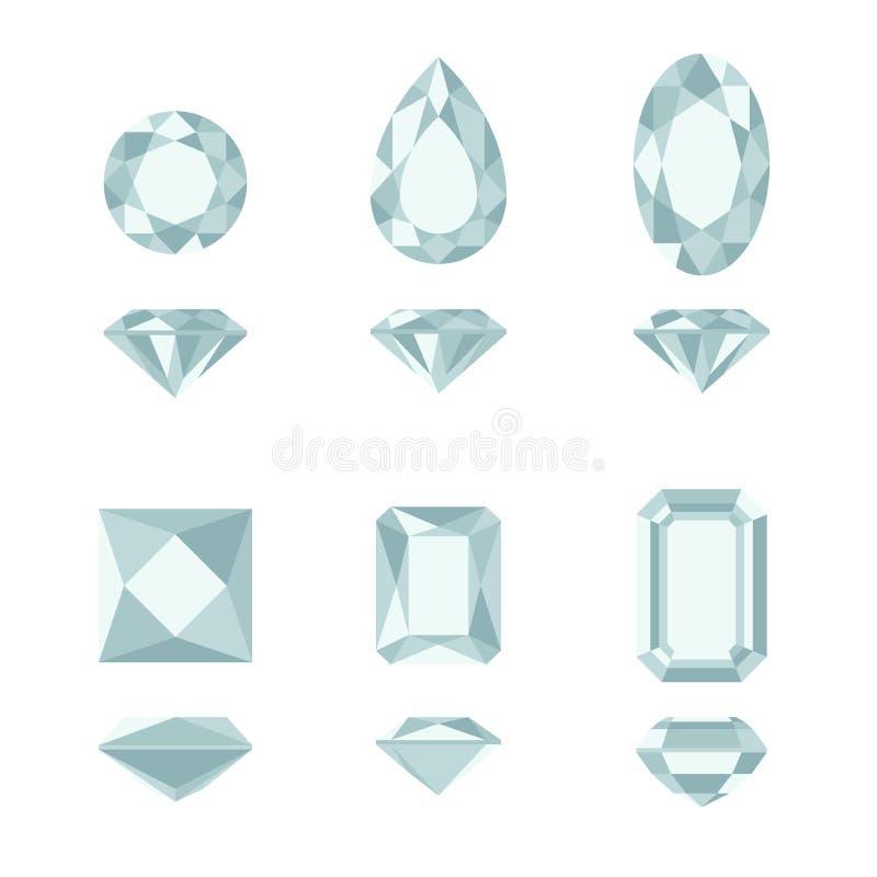 Formas del diamante y de la piedra preciosa stock de ilustración