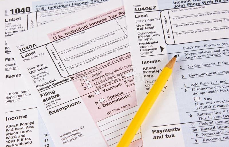 Formas del impuesto sobre la renta fotografía de archivo