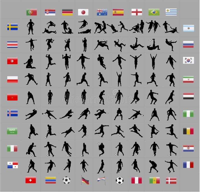 Formas del jugador del mundial del fútbol ilustración del vector