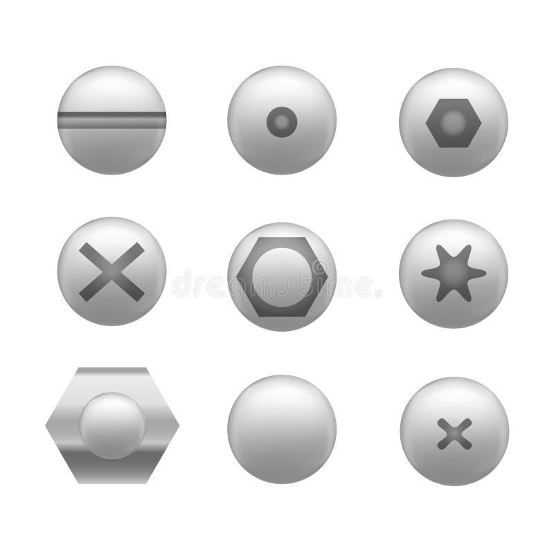 Formas diferentes ajustadas do ícone realístico do tampão de parafuso Vetor ilustração stock