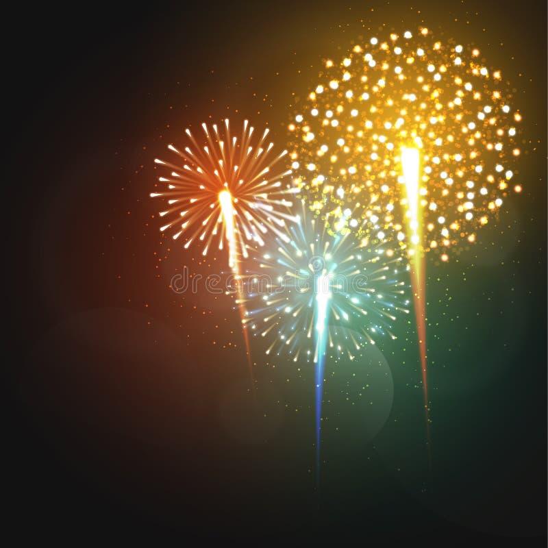 Formas diferentes dos fogos-de-artifício realísticos ajustados Fogo de artifício festivo, brilhante colorido ilustração do vetor
