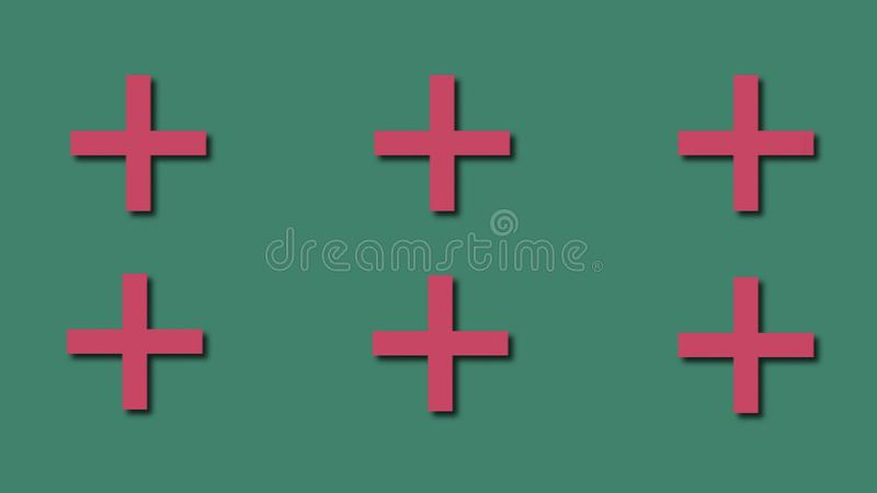 Formas din?micas brilhantes - a cruz, c?rculo, oval no estilo dos desenhos animados, fundo abstrato moderno gerado por computador ilustração stock