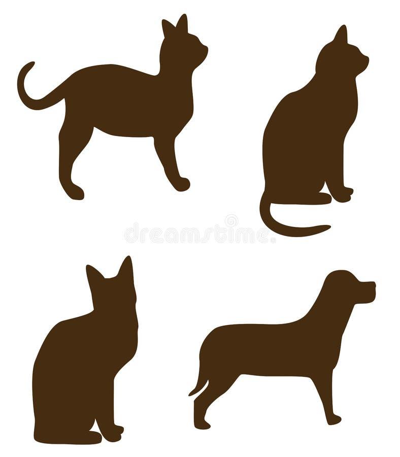 Formas do cão do gato ilustração stock