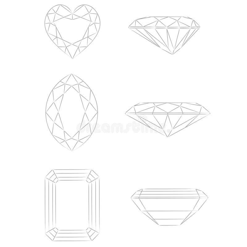 Formas do diamante: Coração - Marquise - esmeralda ilustração royalty free
