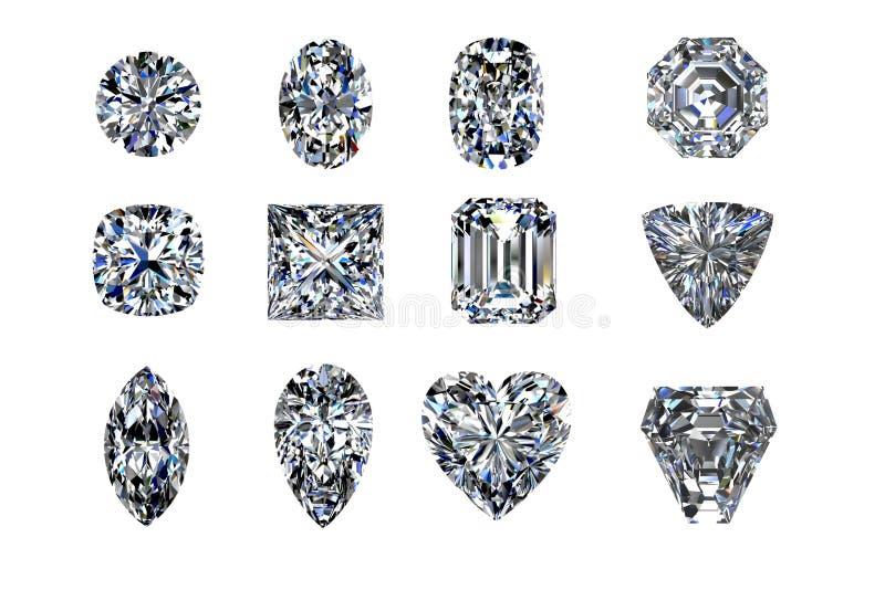 Formas do diamante isoladas no branco 3d rendem fotografia de stock
