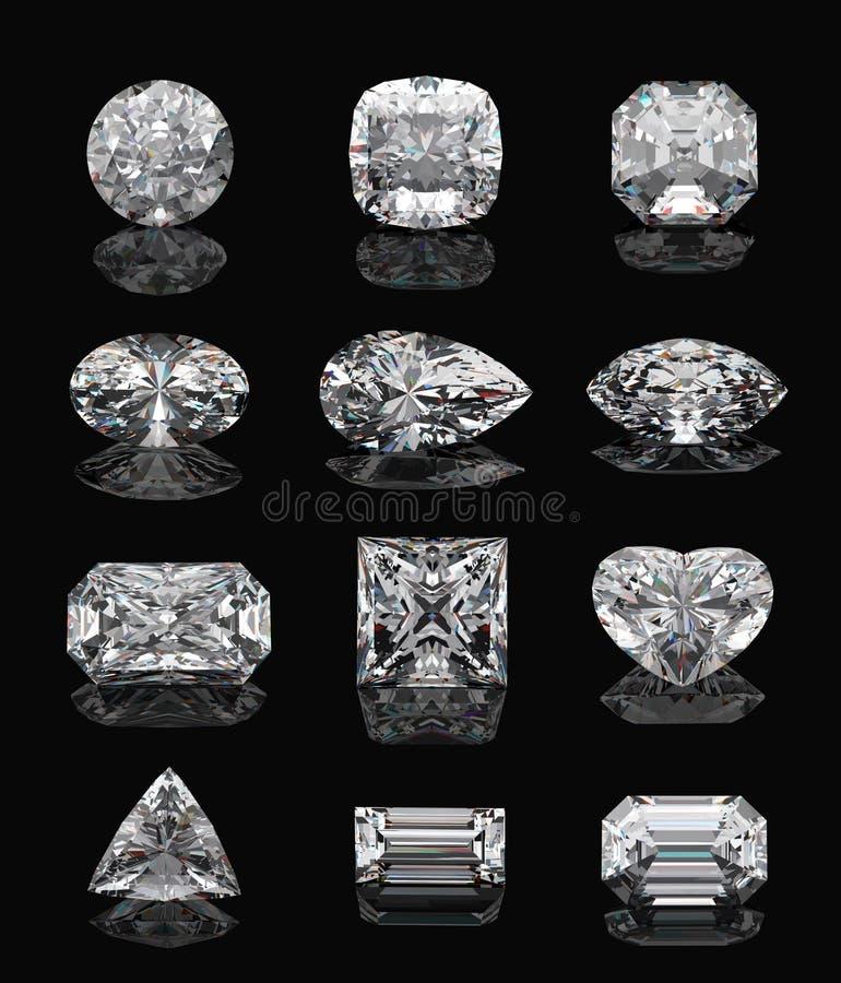 Formas do diamante no preto. ilustração do vetor