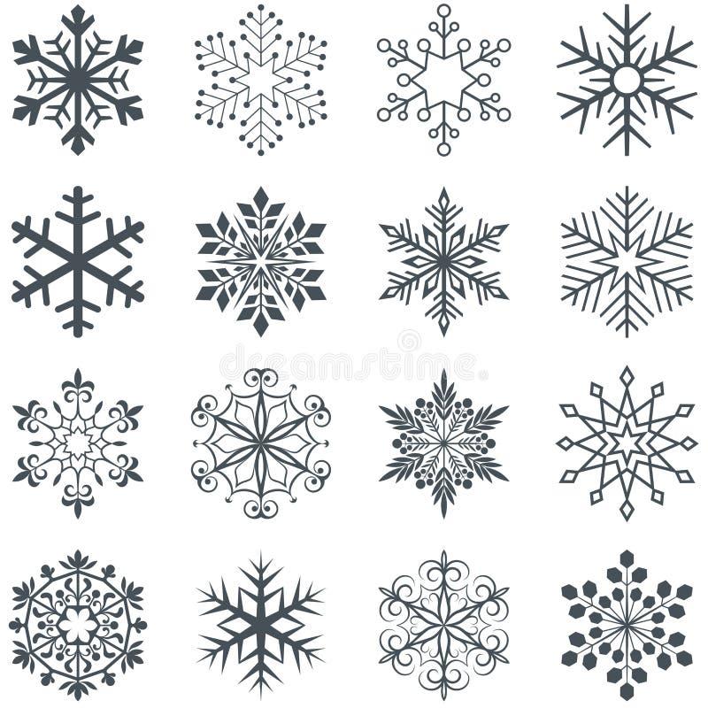 Formas do floco de neve ajustadas no fundo branco ilustração stock