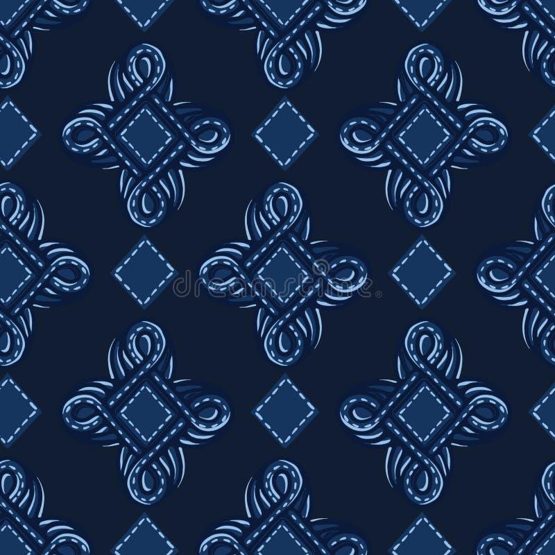Formas do ogee do ornamento do azul de índigo Fundo sem emenda do teste padr?o do vetor Ilustração gráfica tirada mão da joia do  ilustração stock