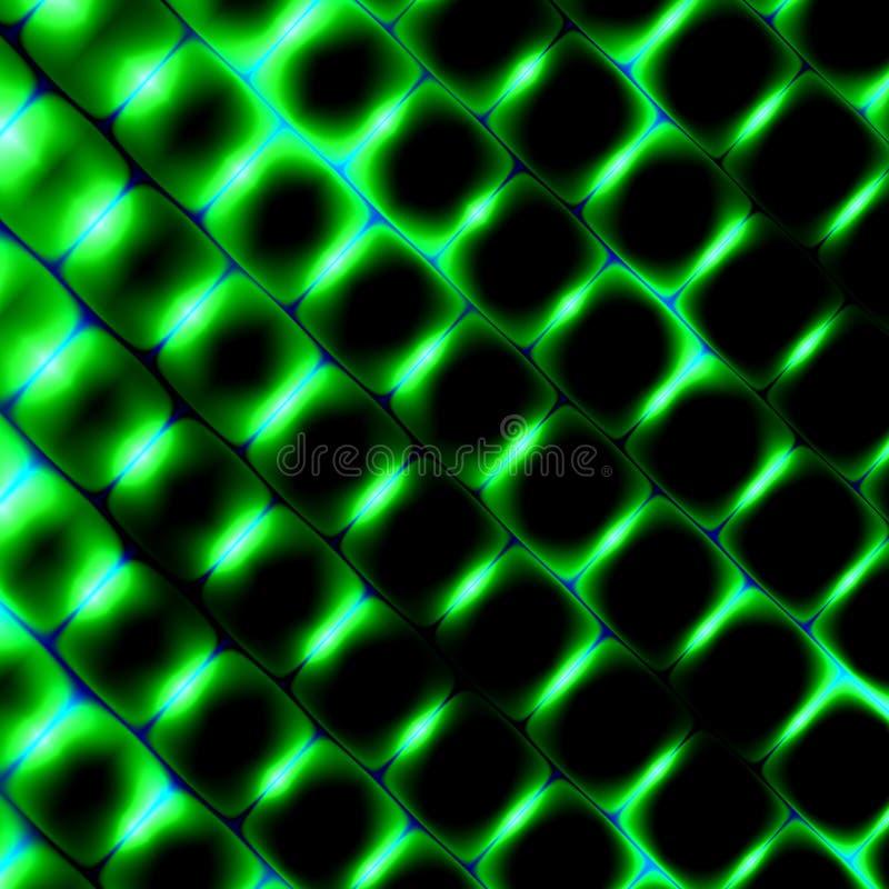 formas do quadrado 3d sob a luz verde Fundo bonito da ciência Ilustração abstrata do teste padrão Elemento moderno do projeto da  ilustração stock
