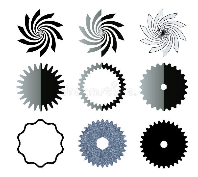 Formas do redemoinho, das estrelas e das engrenagens ilustração do vetor