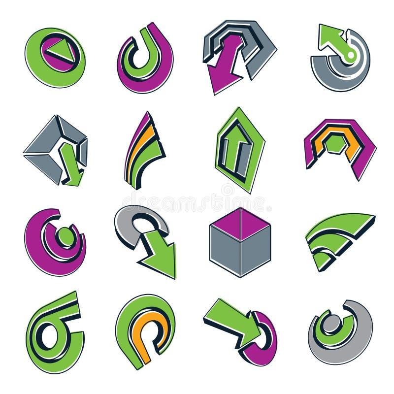 formas do sumário do vetor 3d, ícones diferentes do negócio e projeto e ilustração do vetor