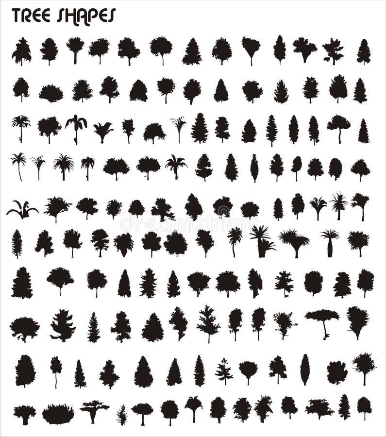 Formas do vetor da árvore ilustração royalty free