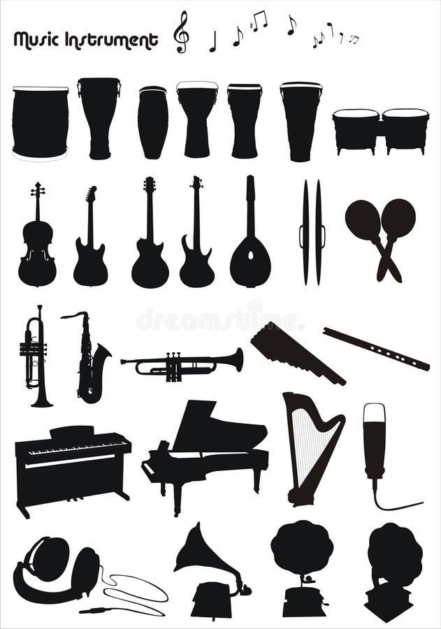 Formas do vetor dos instrumentos musicais ilustração do vetor