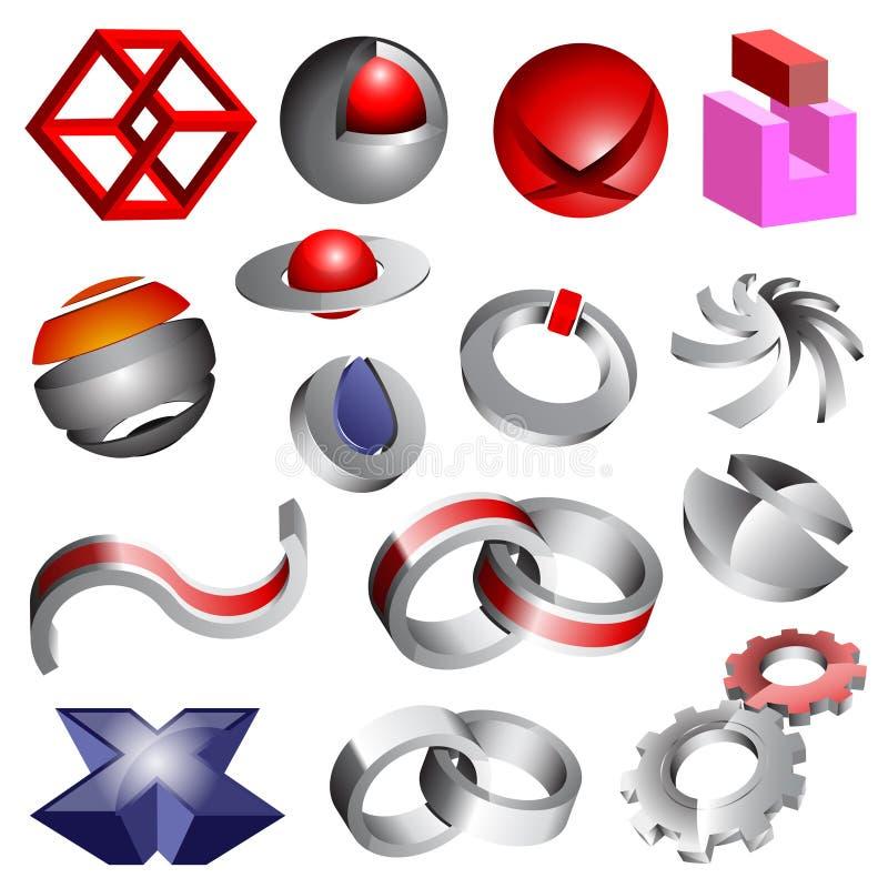 Formas e logotipos abstratos ilustração stock