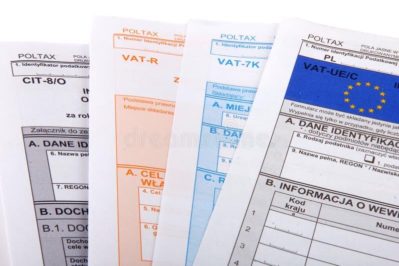 Formas en blanco del impuesto sobre la renta El polaco forma el HOYO imágenes de archivo libres de regalías