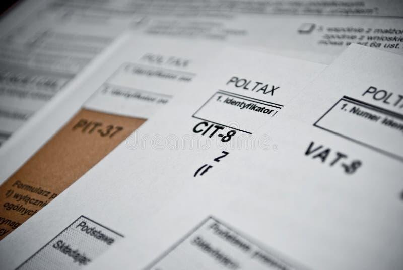 Formas en blanco del impuesto sobre la renta. El polaco forma PIT CIT y el IVA foto de archivo libre de regalías