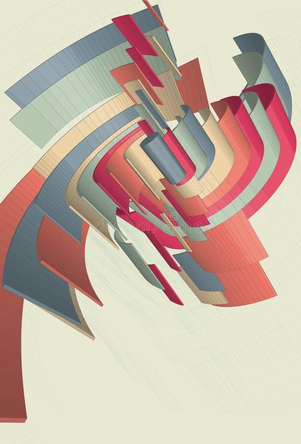 Formas espirais abstratas em 3D ilustração do vetor