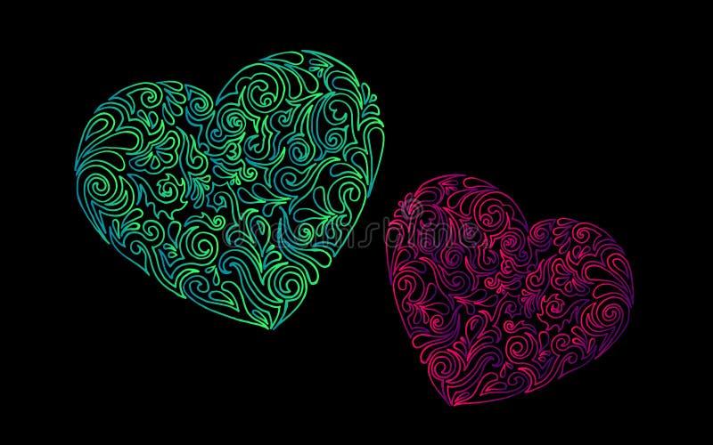 Formas exhaustas del corazón de la mano con el tracery Ilustraci?n del vector stock de ilustración