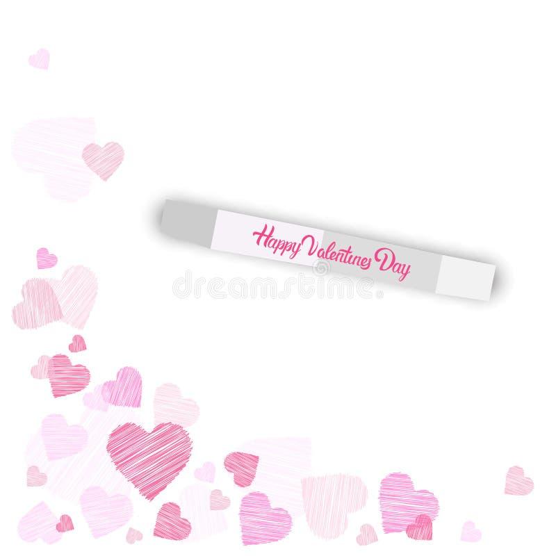 Formas felices del corazón de Valentine Day Background Sketch Pink en el fondo blanco ilustración del vector