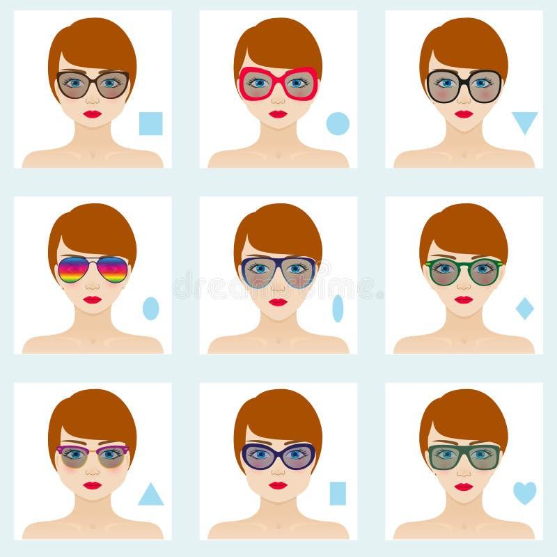 Formas femeninas de la cara fijadas Nueve iconos Muchachas con los ojos azules, los labios rojos y los pelos marrones ilustración del vector