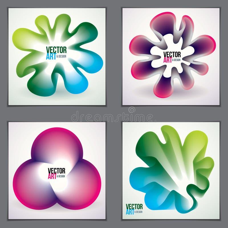 Formas frescas de la pendiente, dise?os futuristas fijados la forma de la flor 3d, vector arte abstracto Perfeccione para el cart stock de ilustración