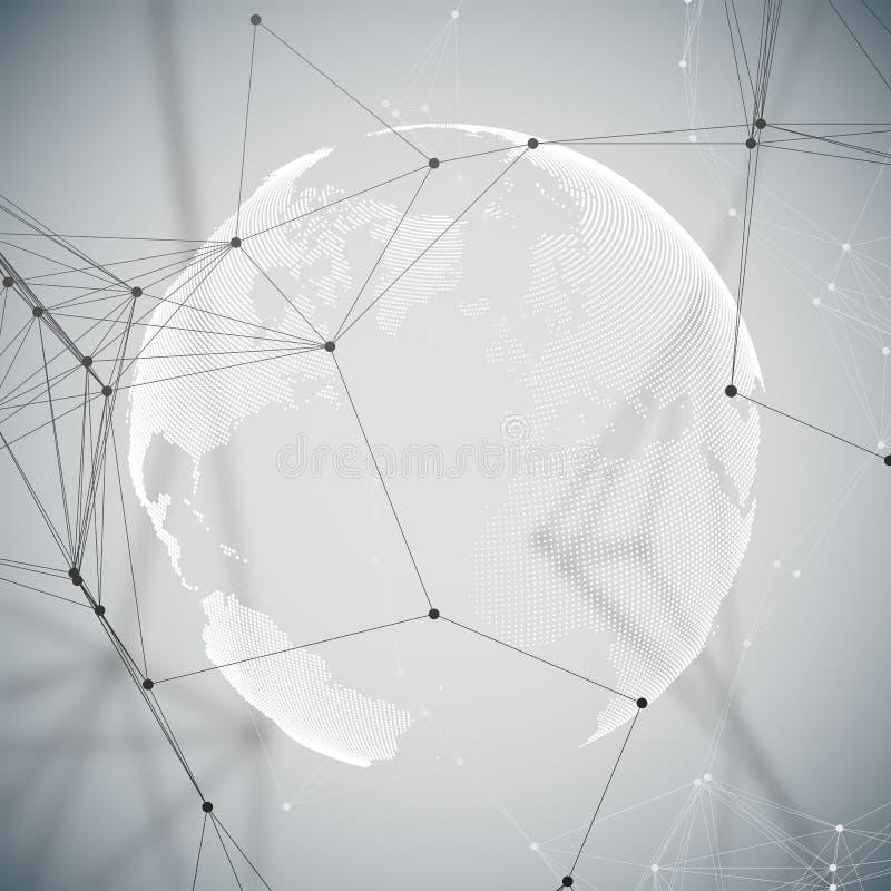 Formas futuristas abstractas de la red Fondo de HUD, líneas de conexión y puntos de alta tecnología, textura linear poligonal mun ilustración del vector
