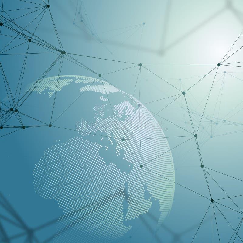 Formas futuristas abstractas de la red Fondo, líneas de conexión y puntos de alta tecnología, textura linear poligonal mundo ilustración del vector