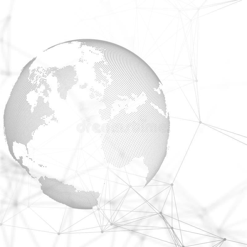 Formas futuristas abstratas da rede Fundo da alta tecnologia, linhas de conexão e pontos, textura linear poligonal Mapa de mundo ilustração royalty free