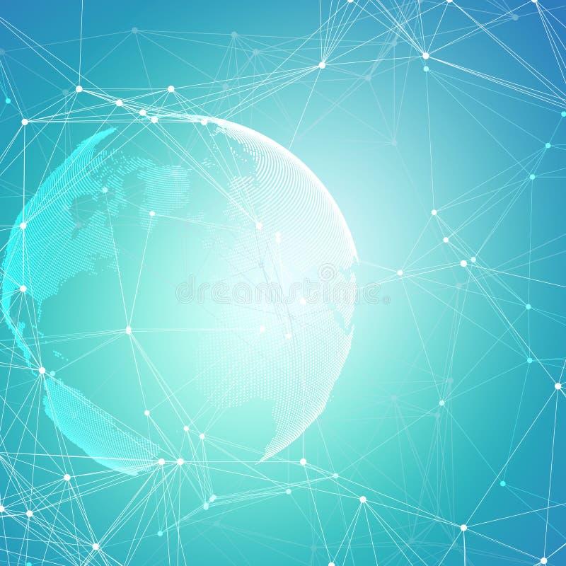 Formas futuristas abstratas da rede Fundo de HUD da alta tecnologia, linhas de conexão e pontos, textura linear poligonal mundo ilustração stock