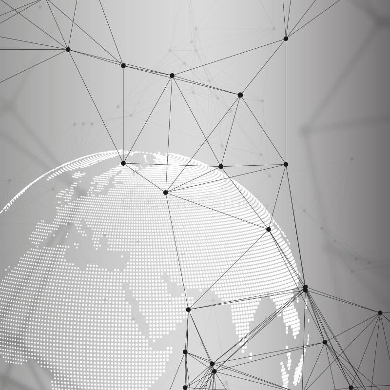 Formas futuristas abstratas da rede Fundo de HUD da alta tecnologia, linhas de conexão e pontos, textura linear poligonal mundo ilustração royalty free