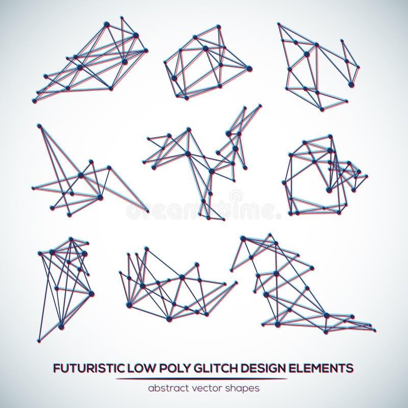 Formas futuristas poligonais abstratas do pulso aleatório ilustração stock