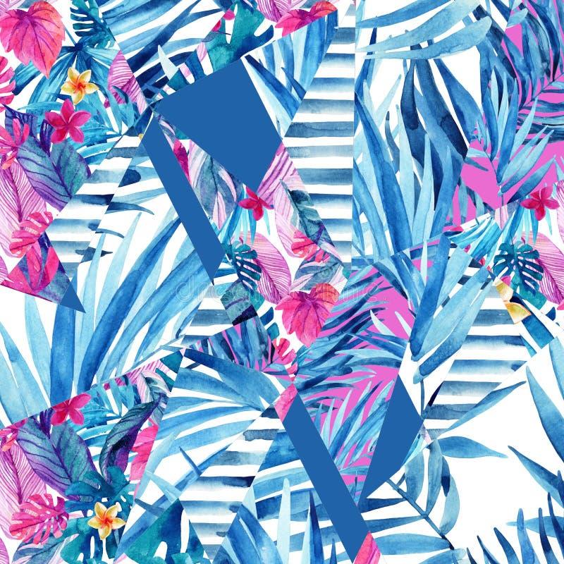 Formas geométricas abstractas con el fondo exótico de las flores y de las hojas libre illustration