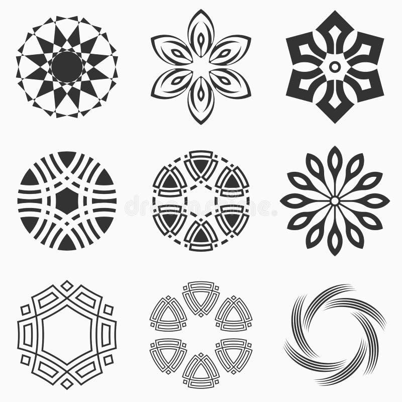 Formas geométricas abstractas, símbolos para su diseño ilustración del vector